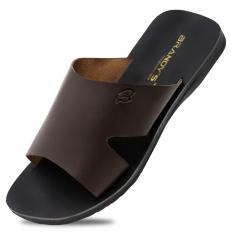 Baroon Sandal Kulit Pria - Coklat Tua