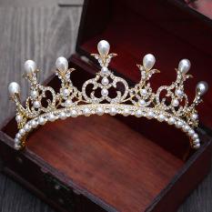 Spesifikasi Baroque Eropa Dan Amerika Emas Mempelai Wanita Mutiara Asesoris Kepala Yg Baik