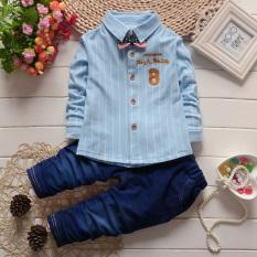 Jual Baru Anak Laki Laki Bayi Lengan Panjang Jaket Kemeja Katun Cahaya Biru Branded Murah