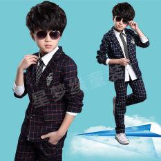 Satu Set Baju Anak Kasual Gaya Korea (Biru Tua Jaket + Kemeja + Celana Tiga Potong []) (Biru Tua Jaket + Kemeja + Celana Tiga Potong [])