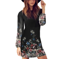 Beli Baru Fashion Kasual Wanita O Leher Lengan Panjang Jersey Rayon Motif Gaun Mini Online Murah