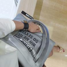 Ulasan Tentang Baru Kapasitas Besar Tas Tas Tote Bag Abu Abu