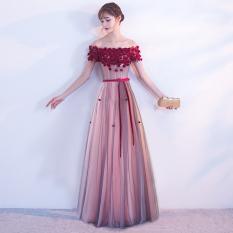 Harga Baru Keterlibatan Perjamuan Mempelai Wanita Baju Pelayanan Gaun Malam Warna Pasta Kacang Merah Model Panjang Termahal