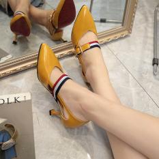 Toko Sepatu Wanita Ujung Lancip Hak Sedang Kuning Kuning Online Di Tiongkok