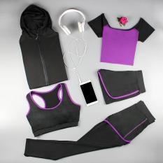 Jual Beli Online 1 Set 5 Pcs Baju Olahraga Wanita Ungu Lima Potong Ungu Lima Potong