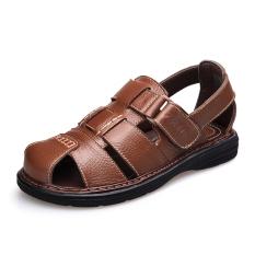 Beli Baru Musim Panas Pria Sandal Coklat Muda Baotou Sepatu Pria Sepatu Sendal Lengkap