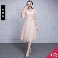 Beli Gaun Pengiring Pengantin Slimming Gaya Korea Merah Muda Model F Merah Muda Model F Baru