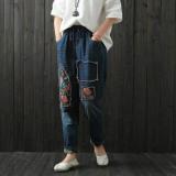 Promo Toko Retro Bordir Baru Longgar Celana Jeans Biru Biru