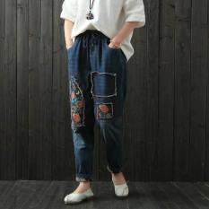Retro Bordir Baru Longgar Celana Jeans Biru Biru Tiongkok