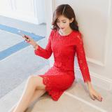 Beli Shining Gaun Span Wanita Aneka Warna Renda Dipertebal Membentuk Tubuh Merah Besar Secara Angsuran