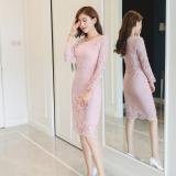 Shining Gaun Span Wanita Aneka Warna Renda Dipertebal Membentuk Tubuh Merah Muda Oem Diskon