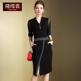 Promo Gaun Wanita Warna Hitam Merah Membentuk Tubuh Gaya Wanita Kantoran Hitam Tiongkok