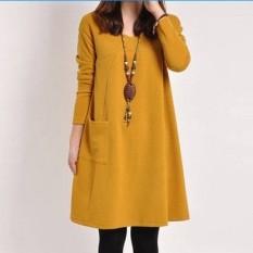 Baru Wanita Hamil Lengan Panjang Setengah Panjang Model Musim Panas Baju Hamil Musim Panas Gaun (904 Lengan Panjang Kuning wanita Hamil)