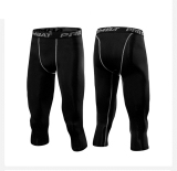 Celana Olahraga Pria Latihan Ketat Elastis Tinggi Hitam Celana Capri Ketat Asli