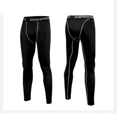 Celana Olahraga Pria Latihan Ketat Elastis Tinggi (Hitam celana ketat)