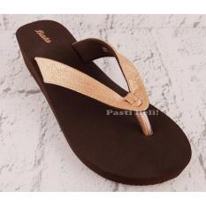 Bata Sandal Wanita Cantik Wedge 572-4548 Emas