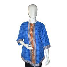 Harga Batik Adikusuma Blouse Wanita Layangan Kembang Biru Baru Murah