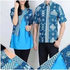 Harga Batik Couple Atasan Blouse Kemeja Wanita Dan Atasan Kemeja Pria Shirt Rasya Biru Paling Murah