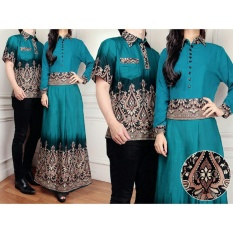Ladies Fashion Batik Couple / Pasangan Batik / Batik Keris / Kalong Asli 3in1  Kemeja /Gaun Wanita Batik  Kemeja Cowok Couple (randami) 7T D30 - Tosca D1C