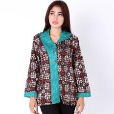 Jual Batik Distro Ba6448 Blus Wanita Kantor Panjang Furing Coklat Di Yogyakarta Murah