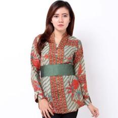 Batik Distro BA7117 Blus Wanita Encim Panjang - Hijau