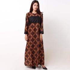Batik Distro BA8761 Gamis Wanita Lengan Panjang - Coklat