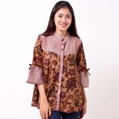 Batik Distro BA8798 Blus Wanita Shanghai Floral Pendek - CoklatIDR105000.  Rp 105.000 a5788295db