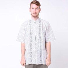 Batik Distro K7846 Kemeja Pria Koko Bordir Minimalis Garis - Putih