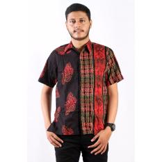 Batik Nulaba Kemeja Lengan Pendek Pria Kupu Pagar - Merah/ Pelangi