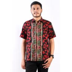 Batik Nulaba Kemeja Lengan Pendek Pria Sby Gugur Bunga - Merah/ Hitam/ Pelangi