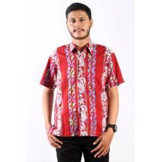 Batik Nulaba Kemeja Lengan Pendek Pria  SBY Shuriken Flower - Merah/ Putih/ Pelangi