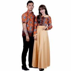 Batik Putri Ayu Solo Sarimbit Batik Gamis Katun dan Velvet SRG111-Orange
