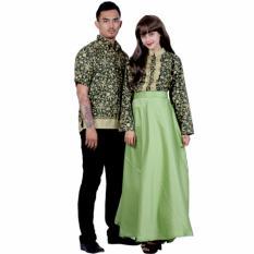 Batik Sarimbit Gamis Modern Katun dan Velvet SRG112 Hijau