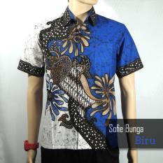 Batik Sofie 3145 Kemeja Hem Batik Pria Motif Bunga Biru