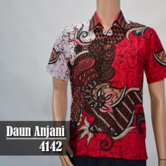 Batik Sofie 4142 Kemeja Batik Pria Motif Daun Anjani Merah