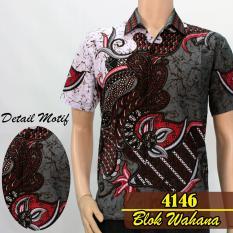Batik Sofie 4146 Kemeja Batik Pria Motif Bunga Grey