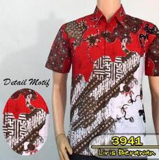 Batik Solo 3941 Baju Kemeja Batik Pria Motif Liris Berawan Warna Merah