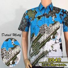 Batik Solo 3942 Baju Kemeja Batik Pria Motif Liris Berawan Warna Biru Sky