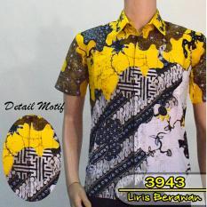 Batik Solo 3943 Baju Kemeja Batik Pria Motif Liris Berawan Warna Kuning Lemon