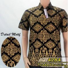 Beli Batik Solo 4284 Baju Kemeja Batik Pria Warna Hitam Terbaru