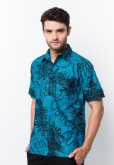 Batik Trusmi - Hem Katun Printing - Motif Snail- Biru-Tosca