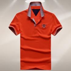 Medan Perang Kasual Pria Pria Kemeja Polo Kaos (Oranye)