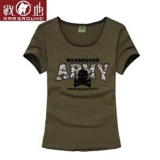 Medan Perang Luar Rumah Baru Huruf Cetak Atasan Perempuan Leher Bulat Kaos (Tentara Hijau)