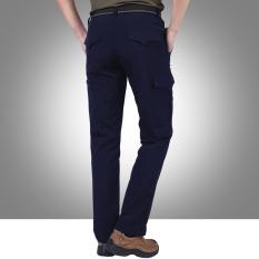 Medan Perang Model Musim Semi Pakaian Pria Kasual Tas Celana Him Kering (Hitam Biru)