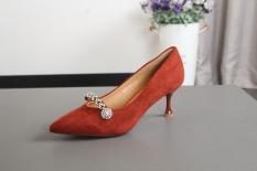 Batu Kristal Udara Hitam Sepatu Hak Perempuan Sepatu Hak Rendah (Bata Merah)
