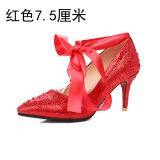 Spesifikasi Batu Kristal Air Merah Perempuan Hak Tipis Bertumit Tinggi Sepatu Sepatu Pernikahan Merah 7 5 Sentimeter Bagus