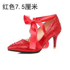 Obral Batu Kristal Air Merah Perempuan Hak Tipis Bertumit Tinggi Sepatu Sepatu Pernikahan Merah 7 5 Sentimeter Murah