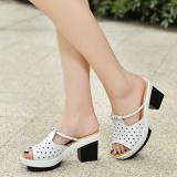 Toko Batu Kristal Air Putih Sol Tebal Pakaian Luar Kogan Sepatu Sepatu Putih Berongga Akar Kuadrat Terlengkap