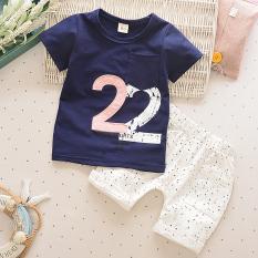 Bayi Laki-laki Lengan Pendek Celana Pendek Children Kaus (2 Kata Biru Tua)