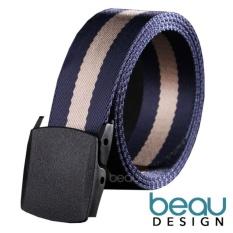 BEAU Design Pria Sabuk Men's Canvas Ikat Pinggang Metal Buckle Stripe Belt